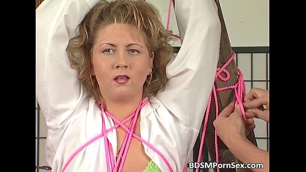 Mature blonde BBW slut entangled