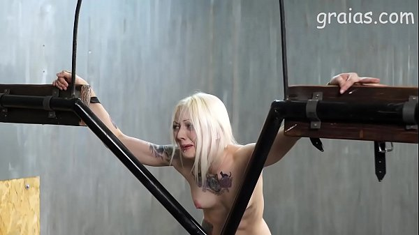 Caning of a skinny blonde girl
