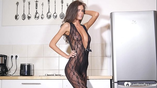 Desirable brunette wears a black seethrough bodysuit Thumb