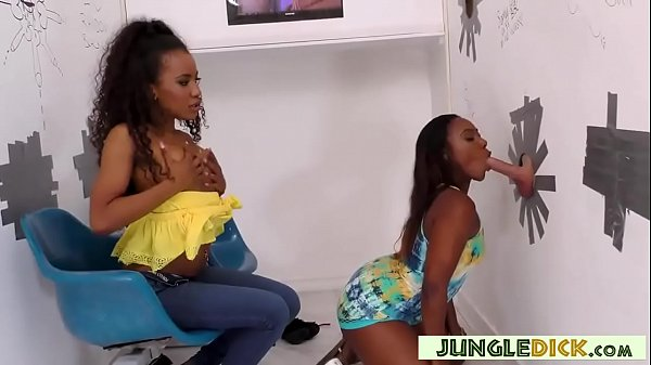 Two Gorgeous Black Babes Suck White Cock in a G...