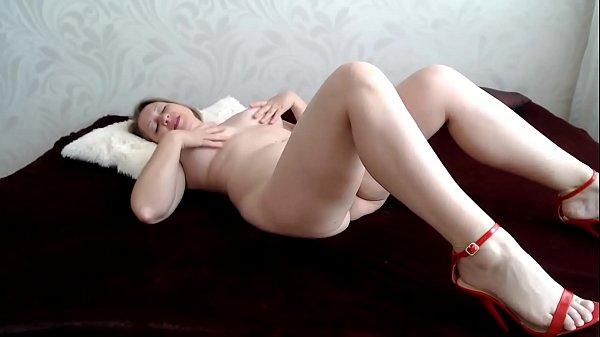Masturbation in red sandals
