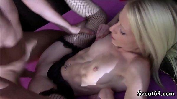 Deutsches Teeny Sabrina Cartier wird hart in Strapse gefickt - Blonde Skinny Teen Sabrina Cartier hard fucked in Stockings