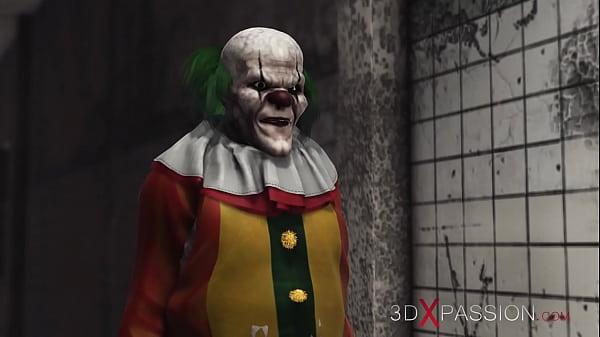 3dxpassion.com. Evil clown fucks a sweet schoolgirl in an abandoned hospital