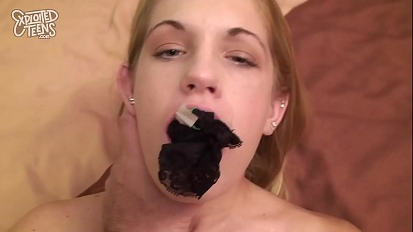 Tiny Blonde Teen with a Shaved Pussy Fucks and ...