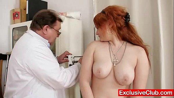 Redhead Samantha checked by kinky gyno doctor Thumb