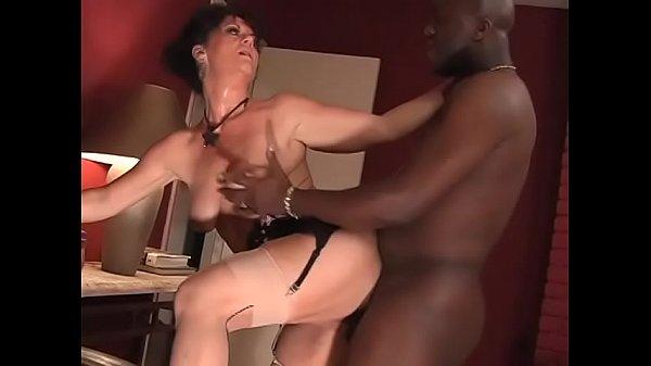 Hot busty brunette mature woman in sexy lingerie De' Bella takes hard black cock in her twat