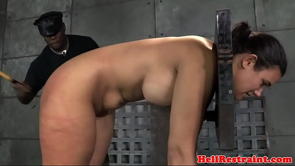 Busty restrained slave caned while cunt toyed Thumb