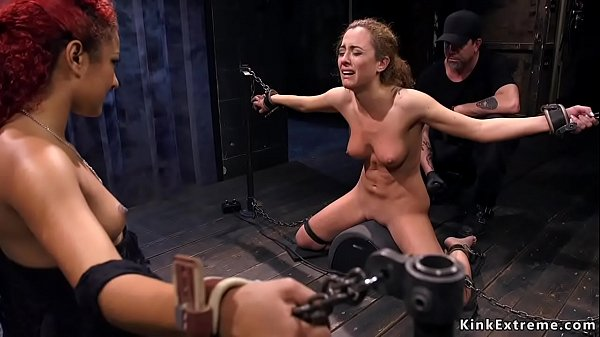 Blonde slave double caned in dungeon Thumb