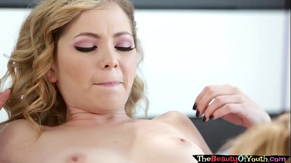 Pussylicking petite blonde lesbians get wet