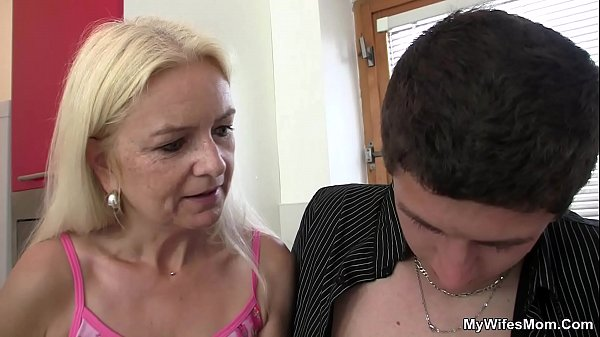 Very old blonde m. in law rides his cock