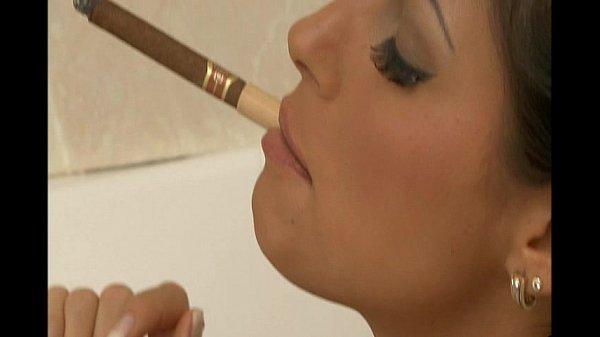Smoking Sluts: Sarah Twain in fishnet catsuit enjoy two dicks