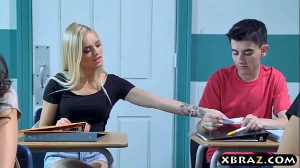 Busty MILF teacher gets with teen couple in her...