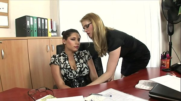 Busty sexy secretaries Katalin and Zafira tongue fuck each other's tight cunt at work