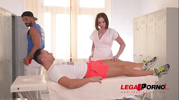 Curvy XXX masseuse Yasmin Scott gets both her wet pussy & butthole DP'ed GP337