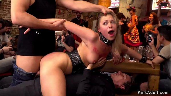 Public Gangbang: Fetish Blonde Gangbanged In Public Bar