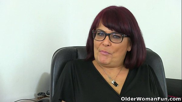 English milf Christina X masturbates on her desk
