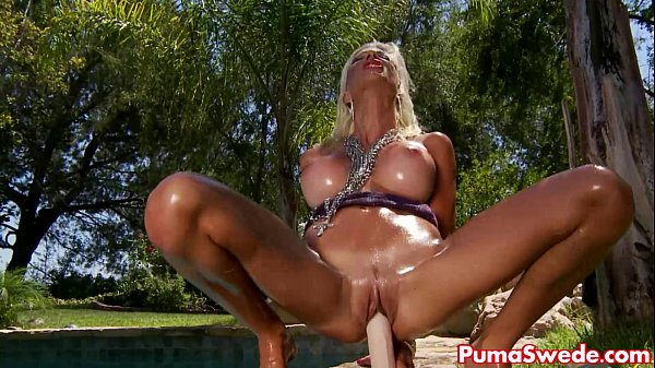 Blonde Euro Babe Puma Swede Plays With Favorite Toy Poolside!