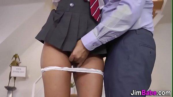 Schoolgirl tugs senior