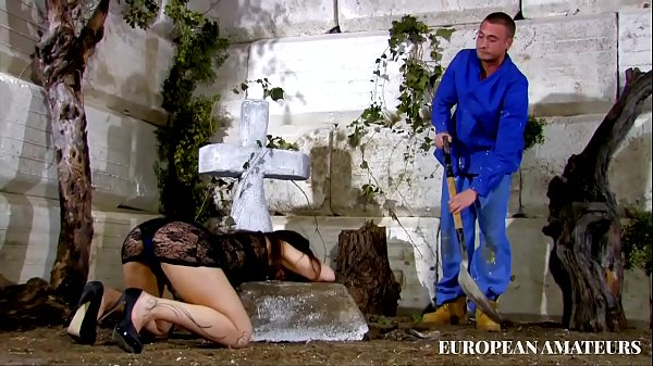 A beautiful widowed girl gets fucked pussy and ass in front of her husband's grave Thumb