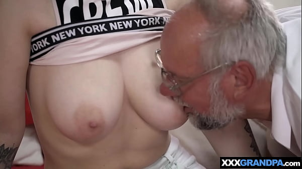 Sheril Blossom seduces granpa with her big natural tits