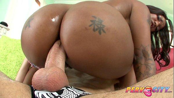 PervCity Chocolate babe fucking a big white cock