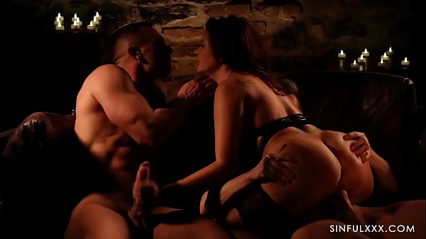 Passionate threesome with beautiful babe and tw...