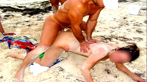 BRUTALLY FUCKED BY THREE MEN ON CANCUN BEACH