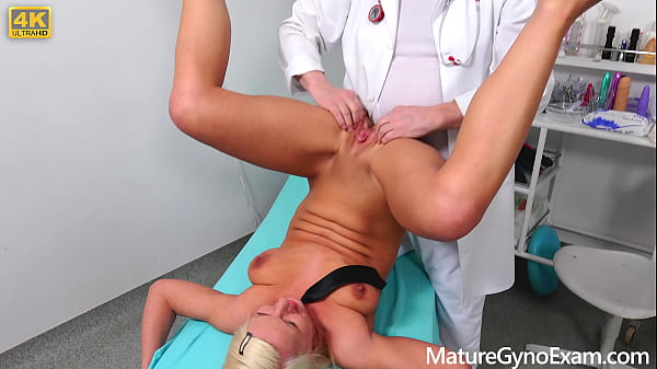 Hot blonde Luci Angel gets dirty gyno exam and fucking machine therapy