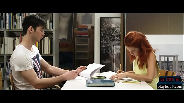 Redhead college student study room fuck with a guy Thumb