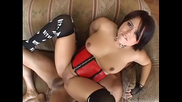 Stunning brunette babe with big tits in red corset Kaci Starr likes when her lover chucks his muck through funnel in her asshole and then she licks disgorged cum