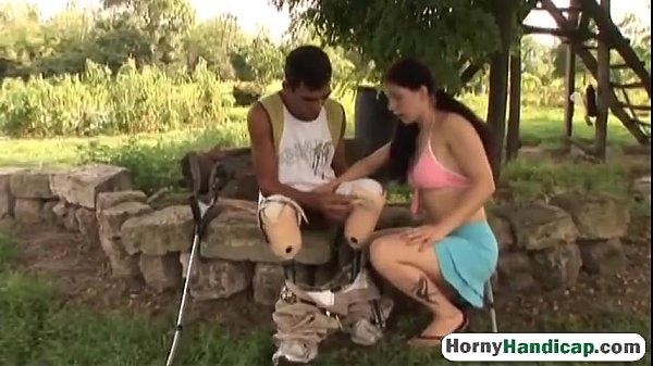 Amputee fucking brunette teen outdoors blowjob-hi-3