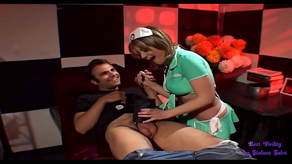 The beautiful masseuse has a provocative skirt, gives him a good blowjob and then takes it in the ass