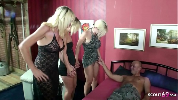 German Virgin Daughter teach Sex by Step Mom and Aunt with Stranger Guy in Foursome Thumb