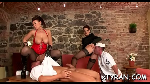 Man tied up and his butt destroyed in rough femdom fetish Thumb