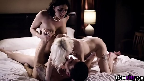 Paranoid Wife Krissy Lynn joins into a hot threesome then rides on top of her husbands long prick
