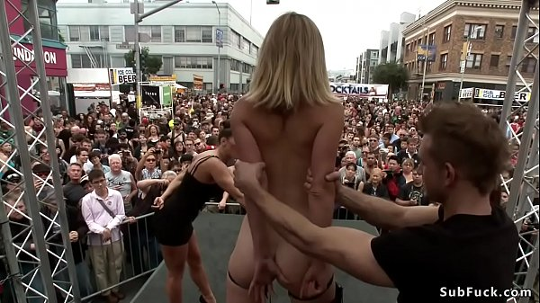 Small tits blonde is disgraced in public