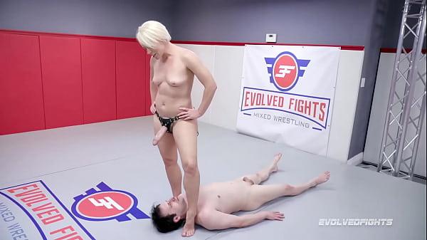 Helena Locke Naked Wrestling Marcelo using her strapon in femdom domination Thumb