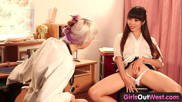 Girls Out West - Lesbian squirting at the doctor's office