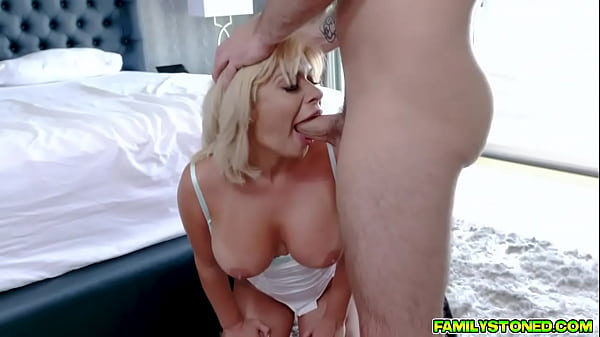 Stepson blackmails his hot bratty stepmom and makes her fuck him