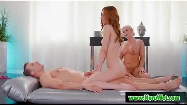 Mom masseuse teaching nuru massage - Christie Stevens & Jillian Janson