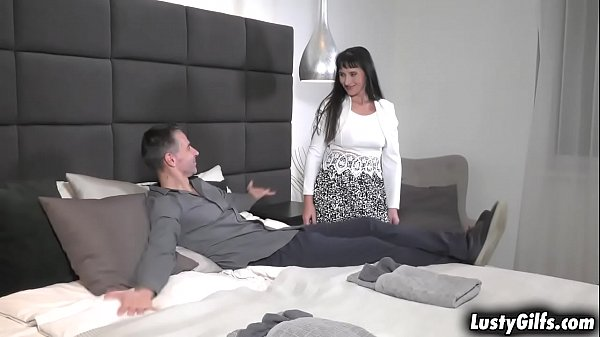 Sexy GILF Sissy visited her horny lover Toby. She wants more than a visit and started sucking his cock then got fucked all over the place.