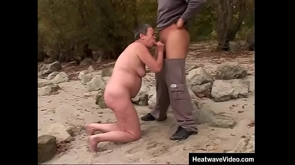 Surprisingly voluptuous granny sucking dick at lake