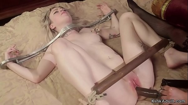 Blonde in metal stock anal toyed