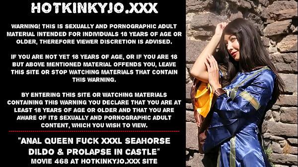 Anal Queen fuck XXXL Seahorse dildo & prolapse in castle