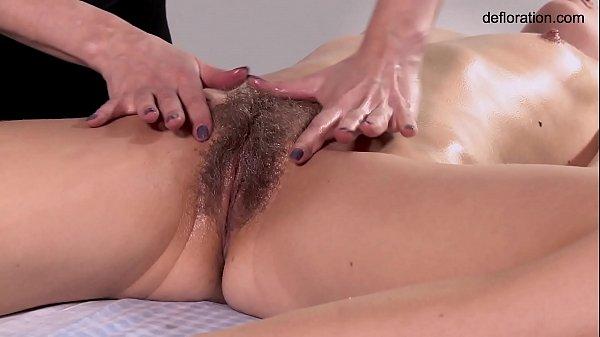 Rita hairy blonde babe massaged Thumb