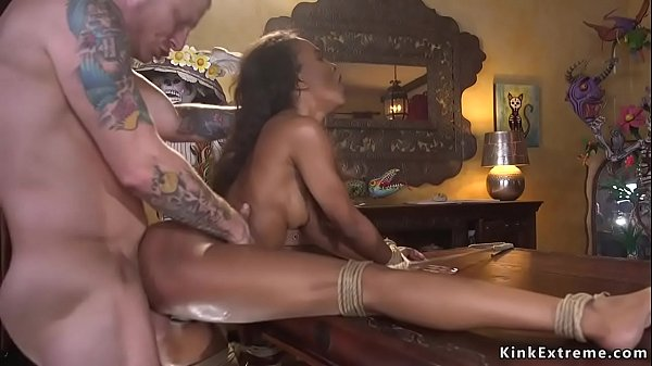 Man finds ebony in woods for bdsm sex