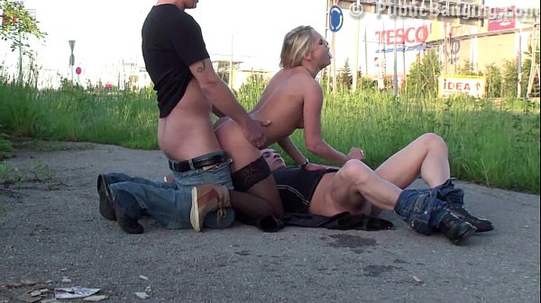 Daring PUBLIC sex threesome with a pretty blonde girl