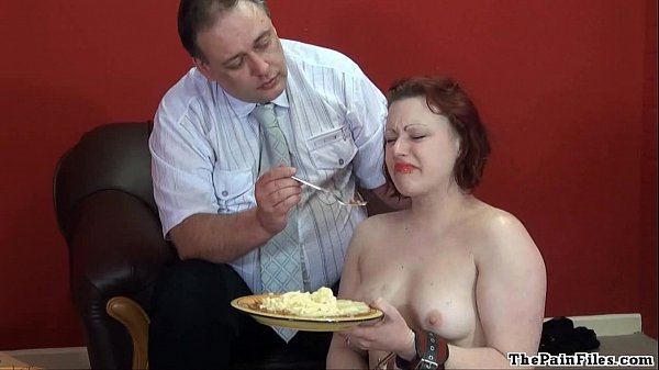 Disgusting food humiliation and cruel domestic discipline of sexy fetish slave Thumb