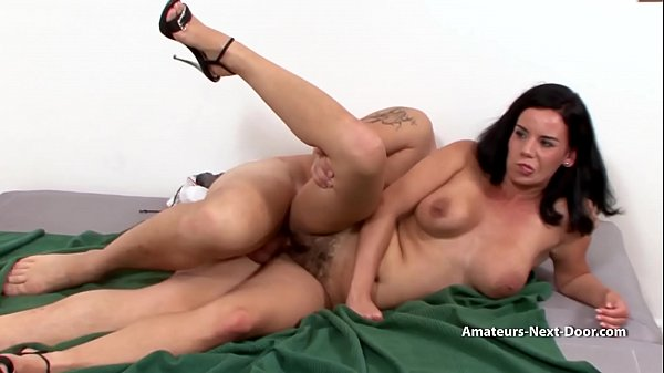 Shy busty MILF with hairy pussy