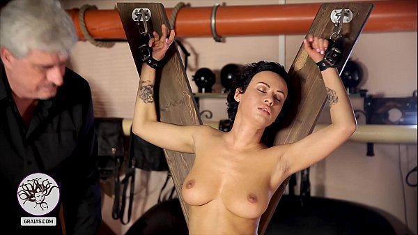 Scared girl with beautiful tits brutally whipped